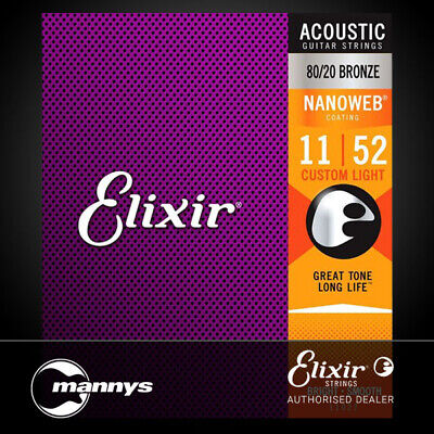 Elixir 11027 80/20 Bronze with Nanoweb Coating Custom Light Acoustic Guitar Stri