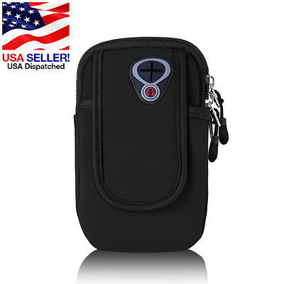 Outdoor Sports Running Wrist Pouch Mobile Cell Phone Arm Band Bag Wallet Black