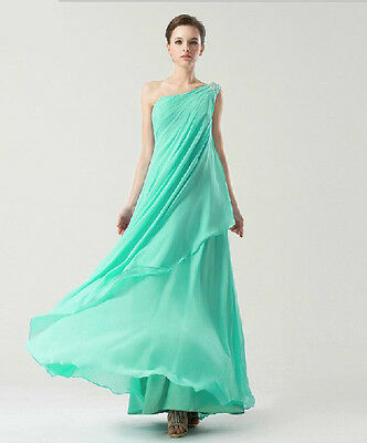 Exquisite Customized Turquoise Blue Chiffon One Shoulder Foldings A-line Dress