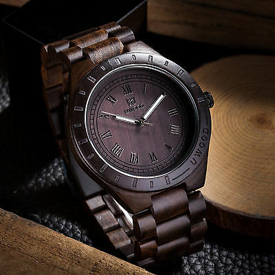 UWOOD Wooden Watches for Men Relogio Masculino Black All Solid Mens Wood Watch