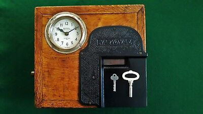 Antique Solid Oak National Time Recorder Clocking In Clock
