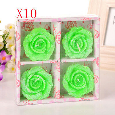 10X Green Wedding Party Romantic Rose-Shaped Red Candles Wholesale Lots 10 Set