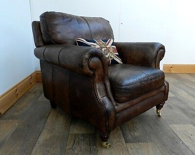Victorian Style Hand Dyed Cigar Antique Brown Leather Club Armchair 1 Of Pair