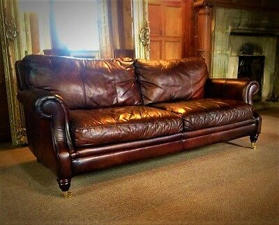 Victorian Style Hand Dyed Cigar Brown Leather 3 Seater Chesterfield Club Sofa
