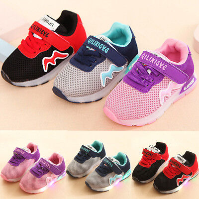 Child Kids Baby Boys Girl Sports Shoes LED Luminous Sneakers Breathable Trainers