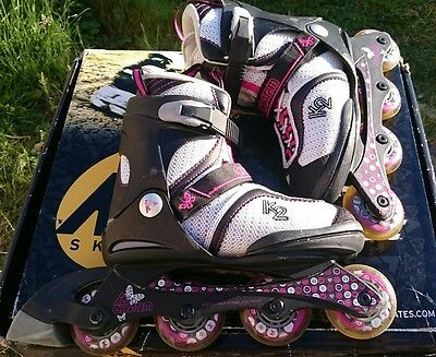 k2 charm adjustable woman inline skates size 4-8 with set of pads s size