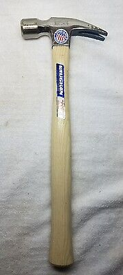 """VAUGHAN 999 Smooth Face Straight Claw Rip Hammer w/ 14"""" Hickory Handle, NOS, USA"""