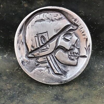 REAL Hobo Nickel Coin Art Ace Of Spades War