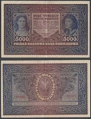 Poland 5000 Marek 1920 VF++ Condition Banknote P-31