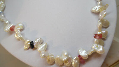 """Freshwater Keshi Pearl and coloured Agate Necklace.18"""""""