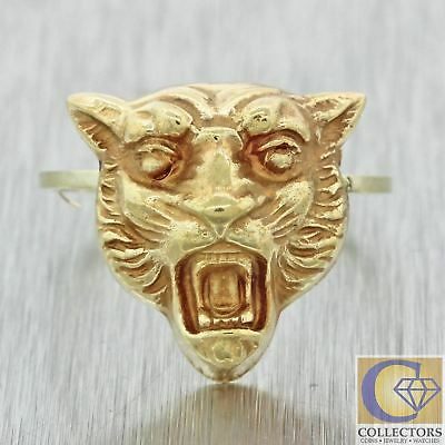 1880s Antique Victorian Solid 14k Yellow Gold Tiger Lion Head Ring