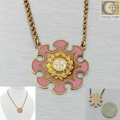 Antique Victorian 10k Solid Yellow Gold White Pink Enamel 55 Pendant Necklace