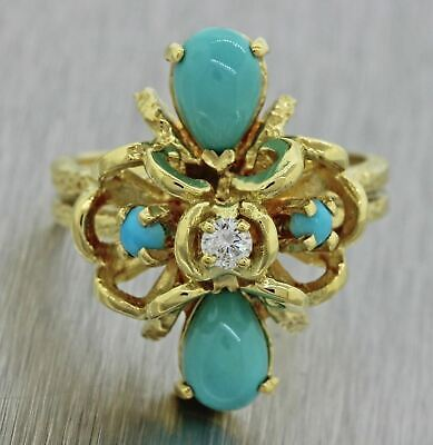 Vintage Estate 18k Solid Yellow Gold Turquoise Diamond Cocktail Ring