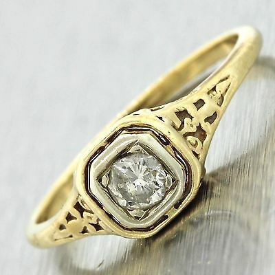 1920s Antique Art Deco 14k Yellow Gold .20ct Solitaire Diamond Engagement Ring