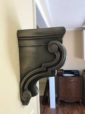 Scrolled Bar Bracket Corbel Wood White Bronze Coated