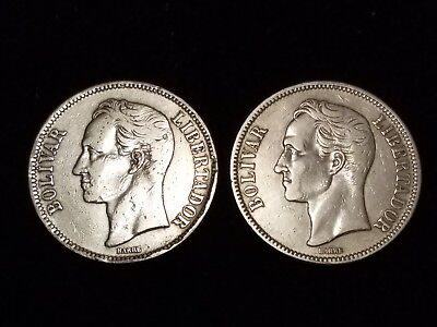 1924 Venezuela 5 Bolivares Silver Circulated coins - Lot of 2 (LN595)
