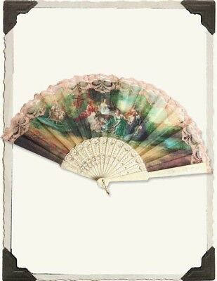 Victorian Trading Co Ivory Hand Fan The Language of Fans Floral New Free Ship