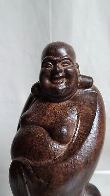 Antique Happy Smiling Buddha (Quality hardwood),