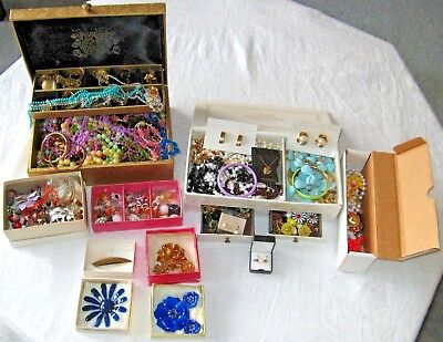 Vintage Lot Of Assorted Costume Jewelry and 2 Jewelry Boxes B5