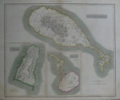 Original 1817 Thomson Map ST. CHRISTOPHERS KITTS NEVIS LUCIA West Indies Islands