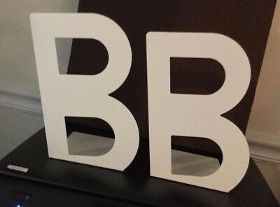 """Book Ends IKEA Sweden Letter B White One Pair Metal NWOT 9"""" Tall 6"""" Wide"""