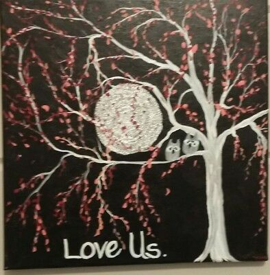 Abstract Painting Framed Metallic Silver Love Owls Coral Black White Wall Art