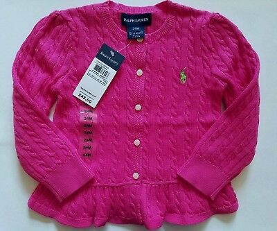 Ralph Lauren Girls Cardigan Cable Pink Ruffled Size 24 Months NWT
