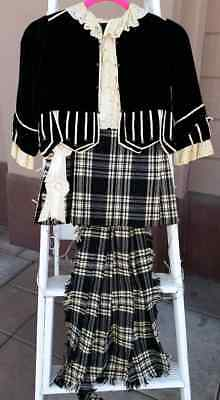 Victorian Antique Boys Tartan Outfit Dress Scottish Kilt Lord Fountleroy