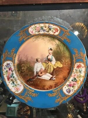 Antique French Sevres Porcelain Plate - Courting Scene - Signed