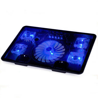 """14-15.6"""" Gaming Notebook Laptop Cooling Pad Stand Cooler Chill Mat 5 Fan"""