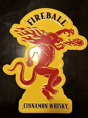 "Fireball Cinnamon Whisky Embossed Tin Sign 21"" x 16"""