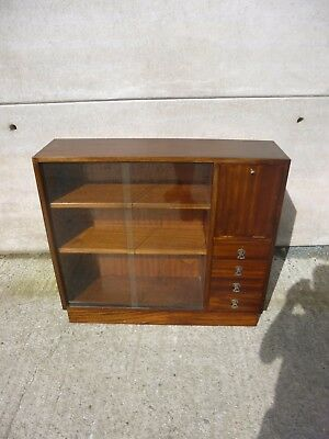 vintage retro wood display bookcase with 4 drawers/cupboard
