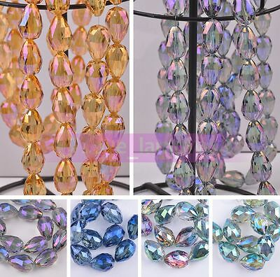 24X17mm Teardrop Faceted Crystal Glass Loose Spacer Beads Jewelry Making