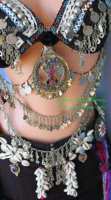 """Cowry Shell Belt Gypsy Tribal Fusion Belly Dance Size Large 36 """", ATS  Gothic"""