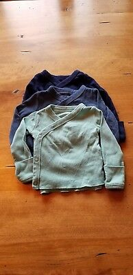 Carters side-snap kimono long-sleeve tee, lot of 3, green and blue, newborn size