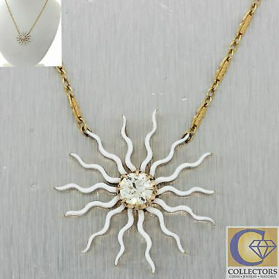 1920s Antique Art Deco Nouveau 14k Yellow Gold Diamond Enamel Sunflower Necklace