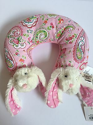 Maison Chic Bunny Rabbit Pink Travel Neck Pillow Support New