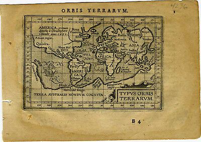 1609 Genuine Antique miniature maps. Set of 6. World & Continents. Ortelius