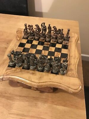 Vintage Wooden Chess Table