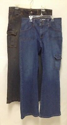 [LOT OF 2] Old Navy Jeans-Stretch-Cargo Style Pockets-Sizes 12 & 12 Regular.