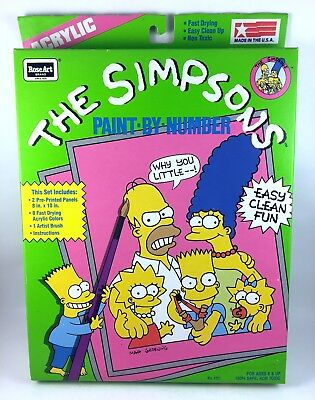 The Simpsons Vintage Paint By Number Art Set 1990 RoseArt New Sealed NRFB NIB