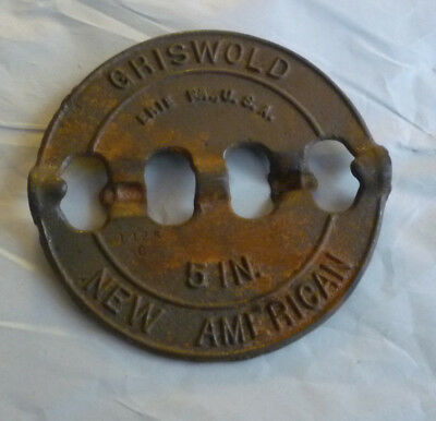 """Antique GRISWOLD Steel Damper Plate New American Erie PA 5"""" Reversible Spindle"""