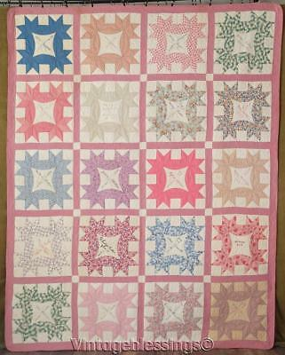 Lovely Vintage 1930 Signature Friendship Album QUILT Never Washed 89x71""