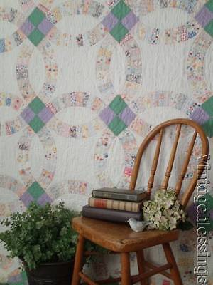 Romantic Cottage Soft Pastels Feedsack VINTAGE 30s Wedding Ring QUILT 94x78""