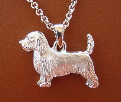 Large Sterling Silver Petit Basset Griffon Vendeen Standing Study Pendant
