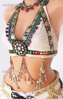 Ivory Lace Halter Top Belly Dance 34-36D ATS, Tribal, Cos Play, Fusion