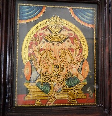 Tanjore Painting South INDIA GOLD Foil Poured Glass Panchamukhi Ganesha Framed