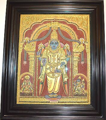 Tanjore Painting South INDIA GOLD Foil Poured Glass Vishnu Large Framed Colors