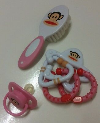 paul frank monkey baby dummy brush and teether gift set