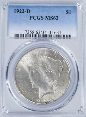 1922 D Peace Dollar PCGS MS63